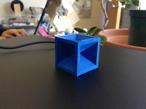 Cube printed on Greylock's 3D printer