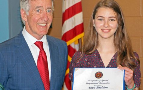 Congressman Neal Presents Art Award to Anya Sheldon '16