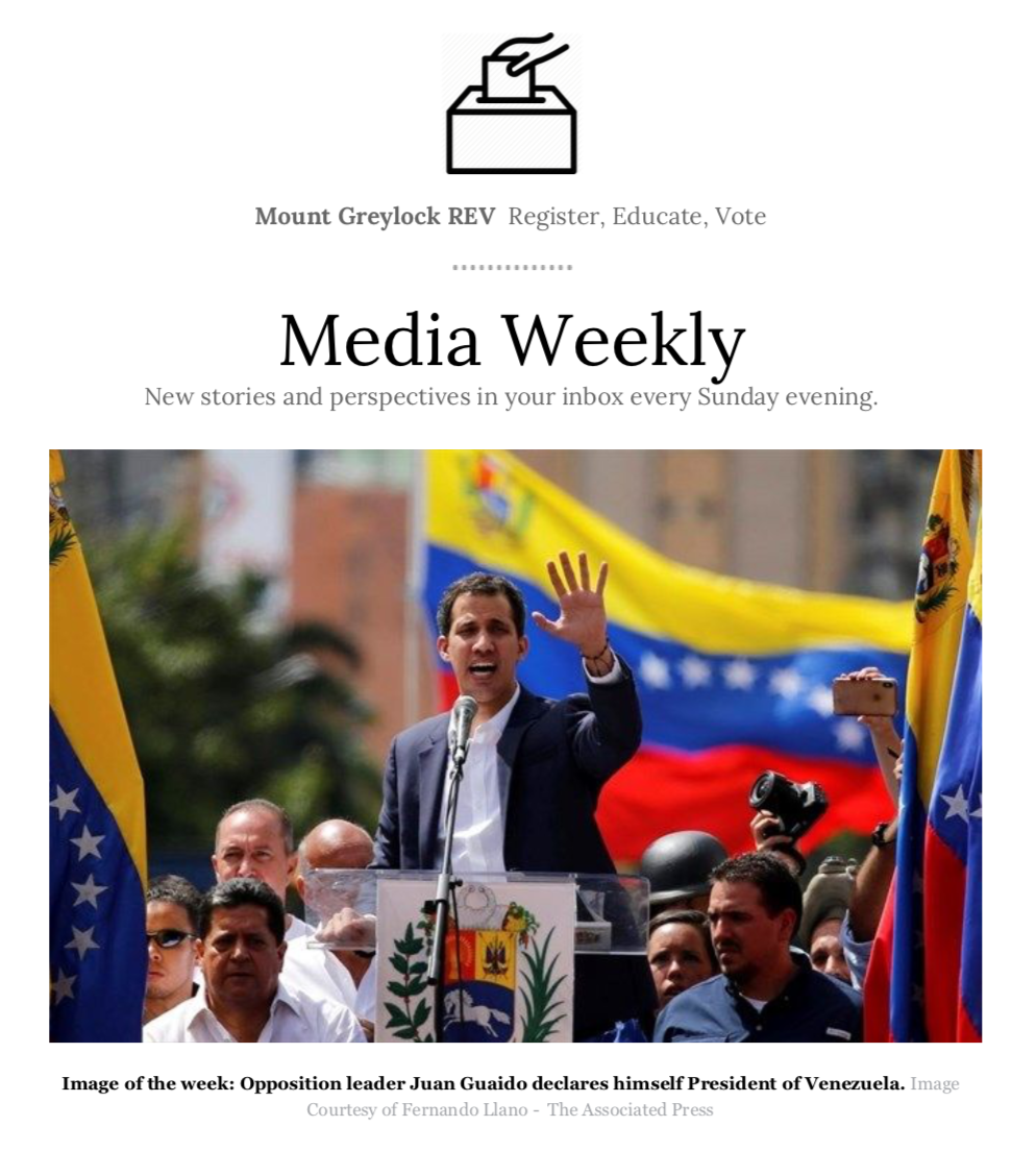The front page of one of REV Media Weekly's weekly newsletters
