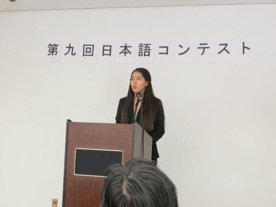 Carrizales+speaks+at+the+Japanese+Consulate+in+Boston%27s+competition%2C+in+which+she+earned+first+place.
